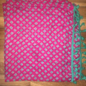 Aerie Magenta and green patterned infinity scarf